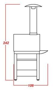 Terrafuoco prospetto laterale mod base con piano frontale appoggio fisso
