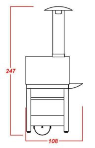 Terrafuoco prospetto laterale mod base con piano frontale appoggio mobile